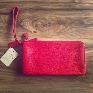 Coach Double Zip Wristlet Wallet ~ Red